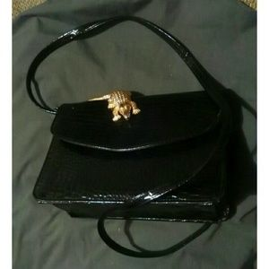 Vintage black patent leather croc style purse